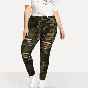 🆕💥2XL CAMOUFLAGE RIPPED LEGGINGS💥